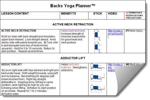 Yoga For Backs Lesson Planner