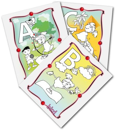 ABC colouring cards