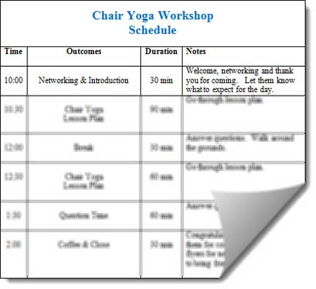 chair yoga workshop schedule