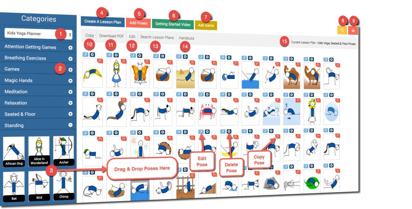 kids Yoga Lesson Plan Creator dashboard