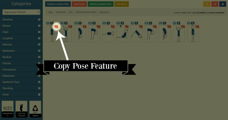 Yoga Genie Lesson Planner New Feature Announcement: Copy Pose